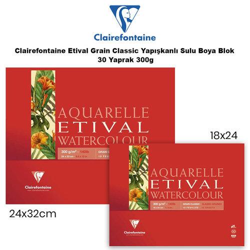 Clairefontaine Etival Grain Classic Yapışkanlı Sulu Boya Blok 30 Yaprak 300g
