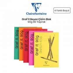Clairefontaine Graf it Beyaz Çizim Blok 90g 80 Yaprak - Thumbnail