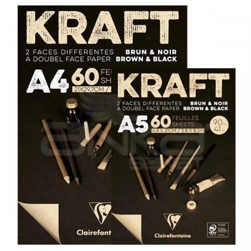 Clairefontaine Kraft Kahverengi ve Siyah Çizim Bloğu 90g 60 Yaprak
