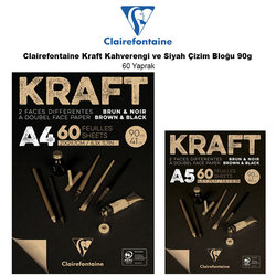 Clairefontaine Kraft Kahverengi ve Siyah Çizim Bloğu 90g 60 Yaprak - Thumbnail