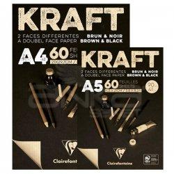 Clairefontaine - Clairefontaine Kraft Kahverengi ve Siyah Çizim Bloğu 90g 60 Yaprak