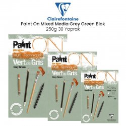 Clairefontaine - Clairefontaine Paint On Mixed Media Grey Green Blok 250g 30 Yaprak