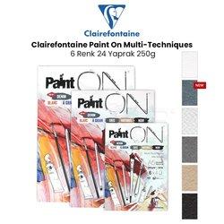 Clairefontaine - Clairefontaine Paint On Multi-Techniques 6 Renk 24 Yaprak 250g