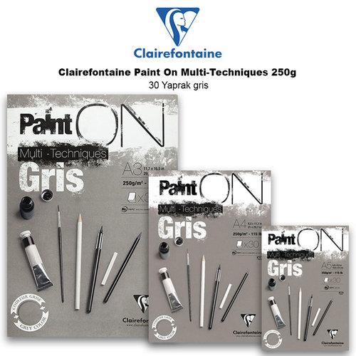 Clairefontaine Paint On Multi-Techniques 250g 30 Yaprak Gris