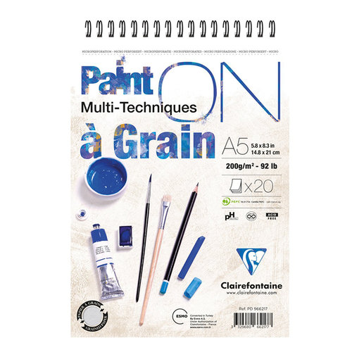 Clairefontaine Paint On Multi-Techniques Teknik Blok Spiralli 200g