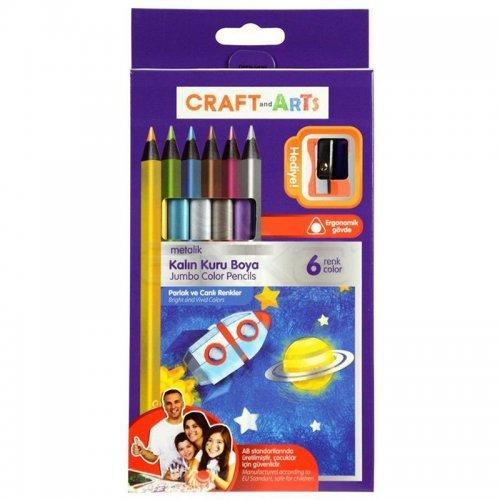 Craft and Arts Kuru Boya Jumbo Metalik 6lı Paket
