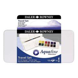 Daler Rowney - Daler Rowney Aquafine Travel Set 12li Plastik Kutu Defterli (1)