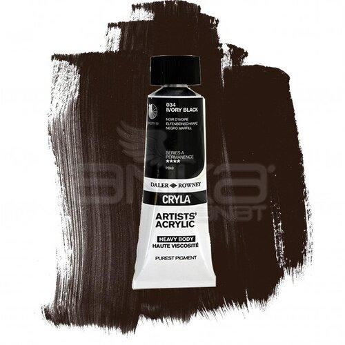 Daler Rowney Cryla Artist Akrilik Boya 75ml 034 İvory Black Seri A - 034 İvory Black