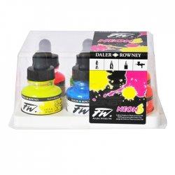 Daler Rowney - Daler Rowney FW Acrylic Artist Ink 29.5ml Cam Şişe 6lı Neon Set 160329006