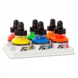 Daler Rowney - Daler Rowney FW Acrylic Artist Ink 29.5ml Cam Şişe 6lı Neon Set 160329006 (1)