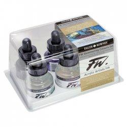 Daler Rowney - Daler Rowney FW Acrylic Artist Ink 29.5ml Cam Şişe 6lı Shimmering Set 160110006 (1)
