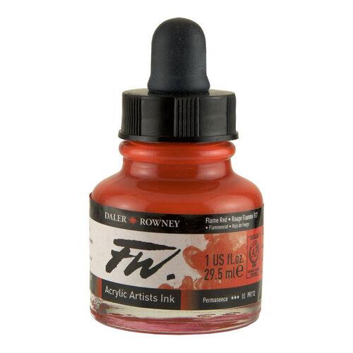 Daler Rowney FW Acrylic Artist Ink 29.5ml Cam Şişe Flame Red 517 - 517 Flame Red