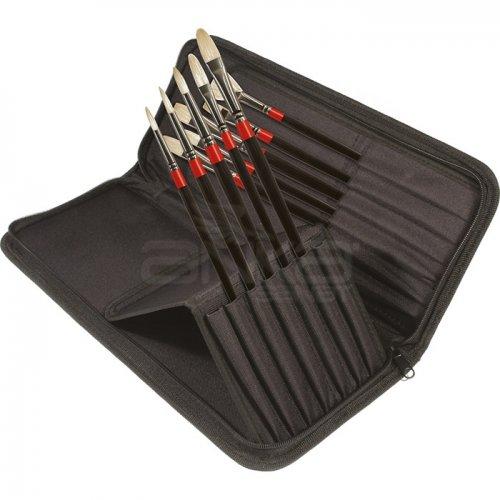 Daler Rowney Georgian Brush Classic Zip Cases Uzun Saplı Beyaz Kıl Fırça 10lu 28330010