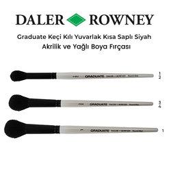 Daler Rowney - Daler Rowney Graduate Keçi Kılı Yuvarlak Kısa Saplı Fırça Siyah