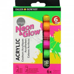 Daler Rowney - Daler Rowney Simply Akrilik Boya 6lı Set Neon-Glow