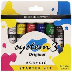 Daler Rowney - Daler Rowney System 3 Akrilik Boya Starter Set 6x22ml 129100005
