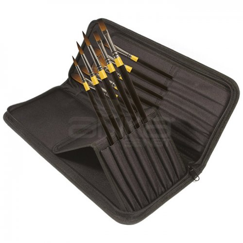 Daler Rowney System 3 Brush Heavy Body Zip Cases Uzun Saplı Sentetik Fırça 10lu 281300111