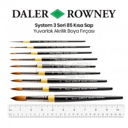 Daler Rowney System 3 Seri 85 Yuvarlak Sulu Boya ve Akrilik Boya Fırçası - Thumbnail