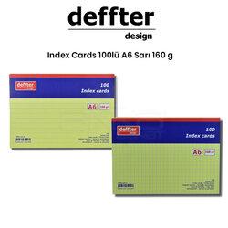 Deffter - Deffter Index Cards 100lü A6 Sarı 160g