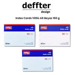 Deffter - Deffter Index Cards 100lü A6 Beyaz 160g