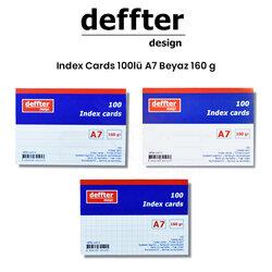 Deffter - Deffter Index Cards 100lü A7 Beyaz 160g