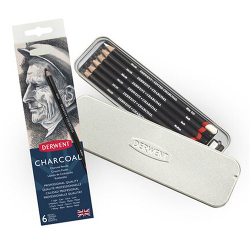 Derwent Charcoal Pencils Füzen Kalem 6lı Set Metal Kutu