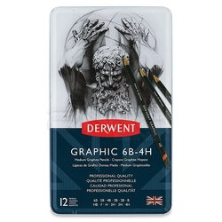Derwent - Derwent Graphic Dereceli Kalem 12li Medium Set (1)