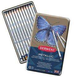 Derwent Metallic Pencil Metalik Boya Kalemi 12li Set - Thumbnail