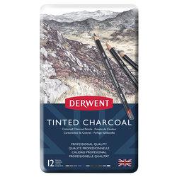 Derwent - Derwent Tinted Charcoal Sulandırılabilen Renkli Füzen Kalem 12li Set (1)