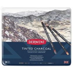 Derwent - Derwent Tinted Charcoal Sulandırılabilen Renkli Füzen Kalem 24lü Set (1)