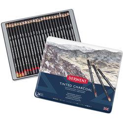 Derwent - Derwent Tinted Charcoal Sulandırılabilen Renkli Füzen Kalem 24lü Set