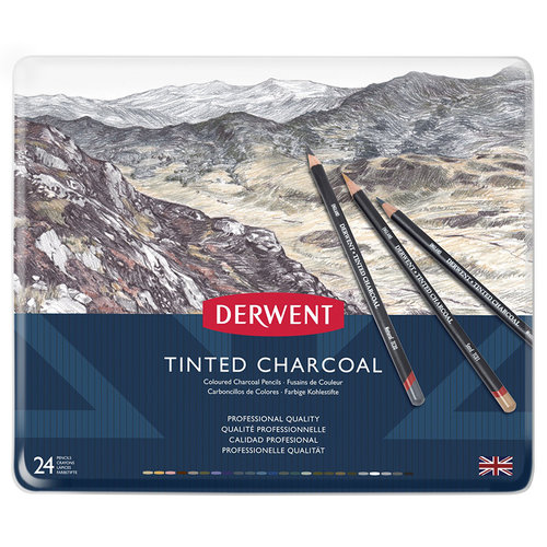 Derwent Tinted Charcoal Sulandırılabilen Renkli Füzen Kalem 24lü Set