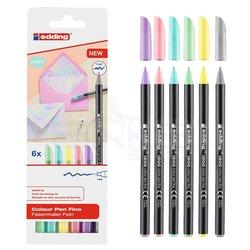 Edding - Edding 1200 İnce Uçlu Keçeli Kalem 6lı Set Pastel Renkler
