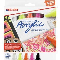 Edding - Edding 5000 Akrilik Marker Kalem 5-10mm Kesik Uç 5li Fosforlu Renkler