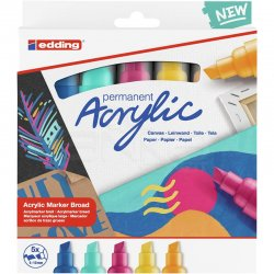 Edding - Edding 5000 Akrilik Marker Kalem 5-10mm Kesik Uç 5li Soyut Renkler