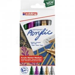 Edding - Edding 5100 Akrilik Marker Kalem 2-3mm Yuvarlak Uç 5li Metalik Renkler