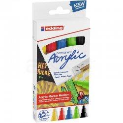 Edding - Edding 5100 Akrilik Marker Kalem 2-3mm Yuvarlak Uç 5li Temel Renkler
