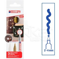 Edding 750 Gloss Paint Marker Metalik Renkler 2-4mm 3lü Set - Thumbnail