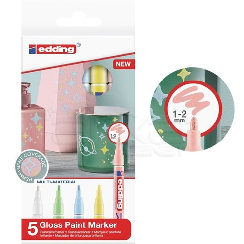 Edding 751 Gloss Paint Marker Pastel Renkler 1-2mm 5li Set