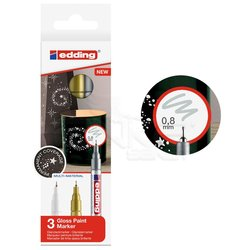 Edding - Edding 780 Gloss Paint Marker Metalik Renkler 0.8mm 3lü Set