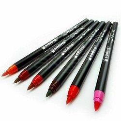 Edding - Edding Fırça Uçlu Porselen Kalemi 1200 1-4mm 6lı Set Sıcak Tonlar (1)