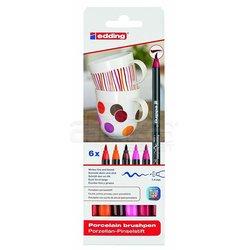 Edding - Edding Fırça Uçlu Porselen Kalemi 4200 1-4mm 6lı Set Sıcak Tonlar