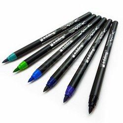 Edding - Edding Fırça Uçlu Porselen Kalemi 1200 1-4mm 6lı Set Soğuk Tonlar (1)