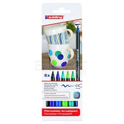 Edding - Edding Fırça Uçlu Porselen Kalemi 4200 1-4mm 6lı Set Soğuk Tonlar