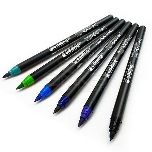 Edding Fırça Uçlu Porselen Kalemi 4200 1-4mm 6lı Set Soğuk Tonlar