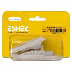 Eshel - Eshel Beyaz Motorbot Maketi 1-100 2li