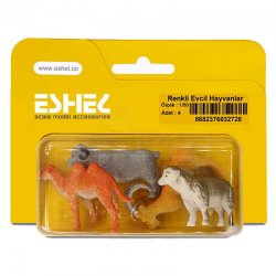 Eshel - Eshel Renkli Evcil Hayvanlar Maketi 1-50 4lü