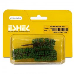 Eshel - Eshel Silindirsel Çam Maketi 6cm 3lü