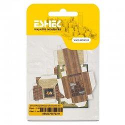 Eshel - Eshel Şömine-Kitaplık-Ahşap Çekmece-Halı Set 1-50 Paket İçi:1 set