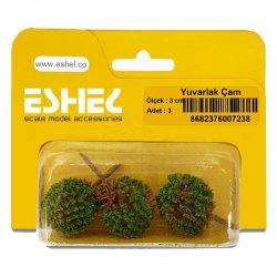 Eshel - Eshel Yuvarlak Çam Maketi 3cm 3lü (1)